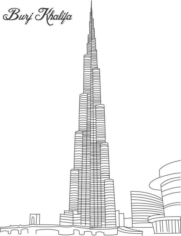 burj khalifa cartoon drawing