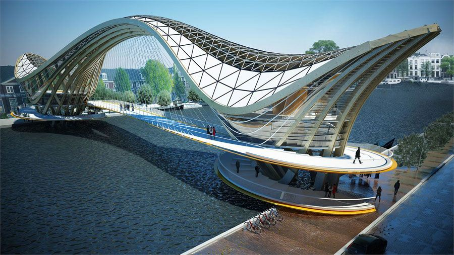 Mixed use habitable bridge for amsterdam laurent saint val for Design bridge amsterdam