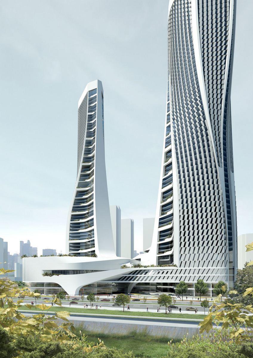 Parametric towers raffles city hangzhou by unstudio for Un studio architecture