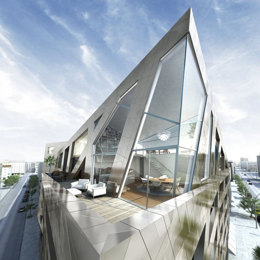 Metallic residential building in berlin by daniel libeskind for Architecture berlin