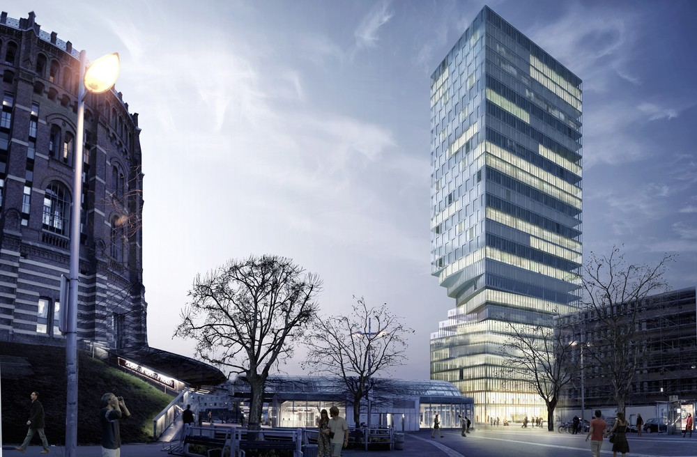 Hourglass Form Twisted Tower in Vienna MVRDV 1