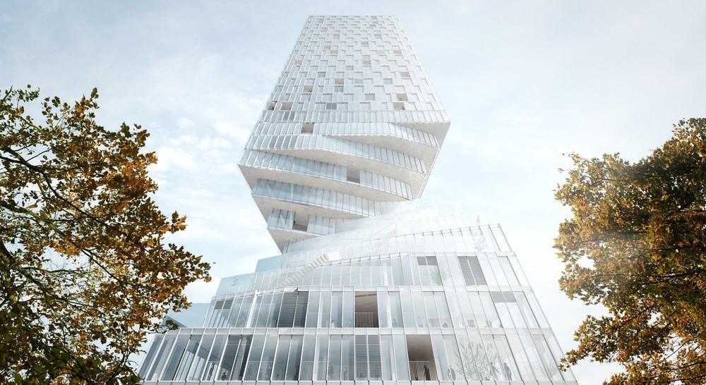 Hourglass Form Twisted Tower in Vienna MVRDV 2