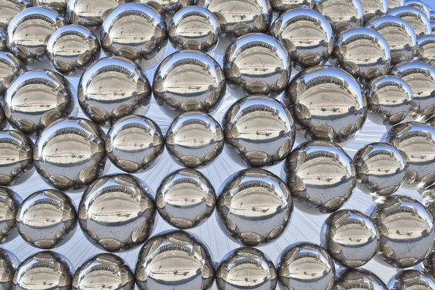 Cradle Mirror Polished Stainless Steel Spheres Installation 06