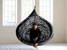 MAFFAM MANU Nest Hanging Chair Design made from Black Volcanic Basalt Fiber