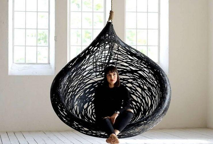 MAFFAM MANU Nest Hanging Chair Design made from Black Volcanic Basalt Fiber